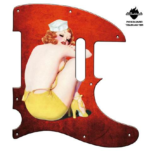 Design Pickguard - Pinup Ivory red